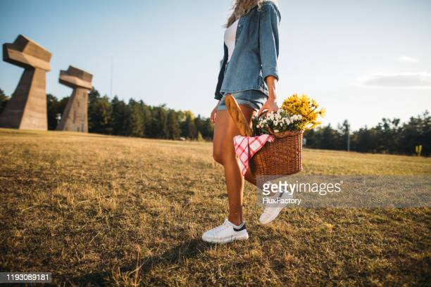 beautiful young girl carrying a picnic basket outdoors - picnic basket stock pictures, royalty-free photos & images