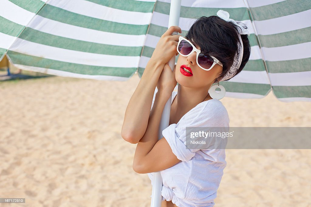 beautiful young girl in retro look with red lips   Stock Photo 1bec78c2e06a
