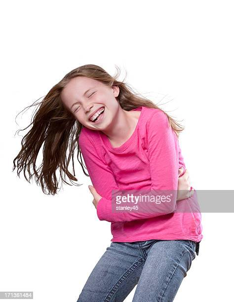 Beautiful young girl overjoyed with laughter