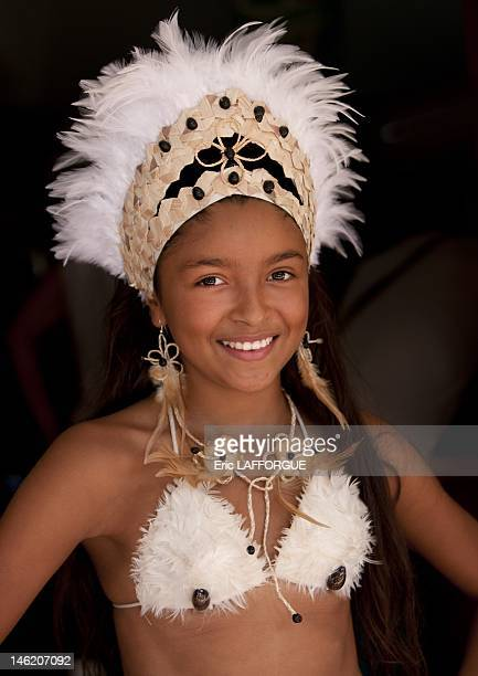 Beautiful young girl Tapati Festival in Easter Island is a mix of carnival sports theatrical presentations and homage to Rapa Nui it is celebrated...