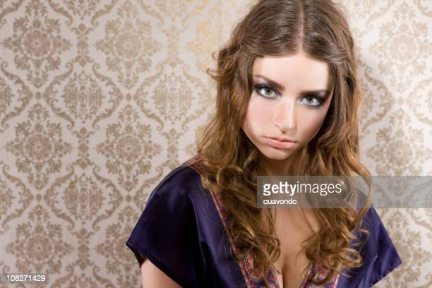 Beautiful Retro Fashion Model Young Woman Portrait, Copy Space