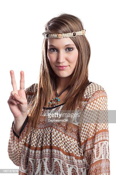 beautiful young hippie woman - hippie woman stock photos and pictures
