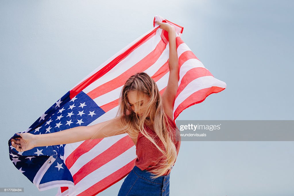 Beautiful Young Hipster Woman with USA Flag : Stock Photo