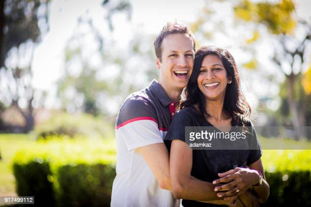 Beautiful Young Indian Woman and White Man Couple