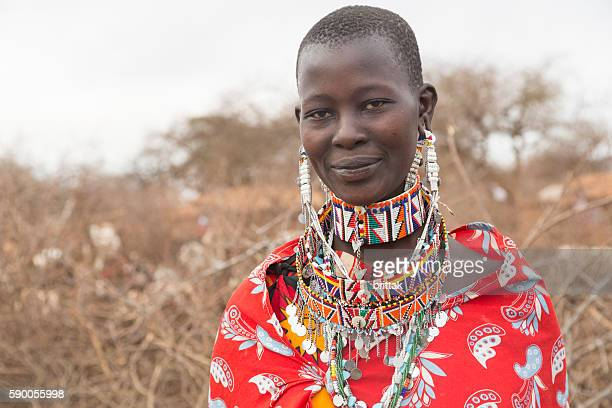 Beautiful young Maasai woman with traditional jewelry. Selenkay, Kenya.