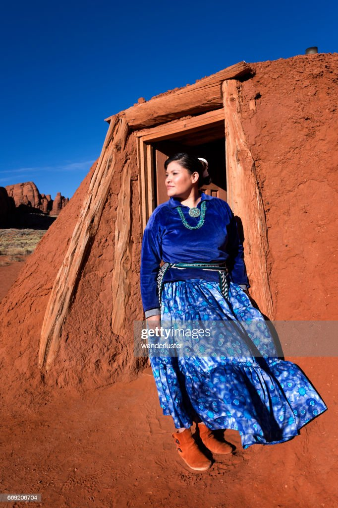 Beautiful Young Navajo Woman Outside Her Hogan Stock Photo