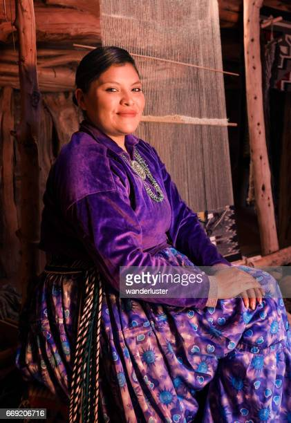 beautiful young navajo woman portrait - navajo hogan stock photos and pictures