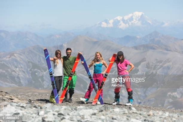 Beautiful young people having fun in Les Deux Alps