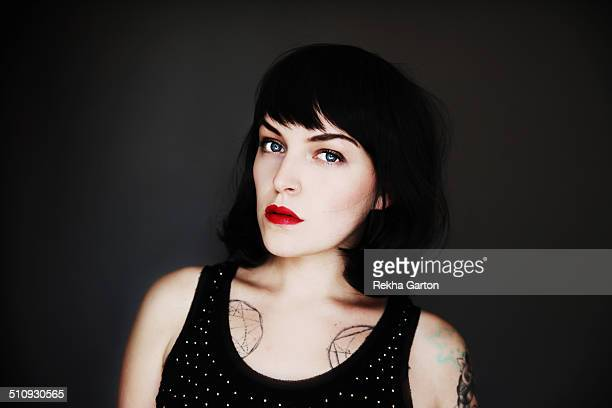 beautiful young tattooed woman - rekha garton stock pictures, royalty-free photos & images