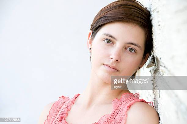 Beautiful Young Teen Girl Portrait with Copy Space