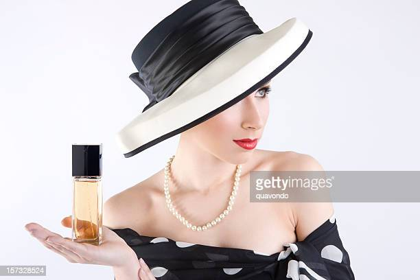Beautiful Young Woman as Perfume Fashion Model on White