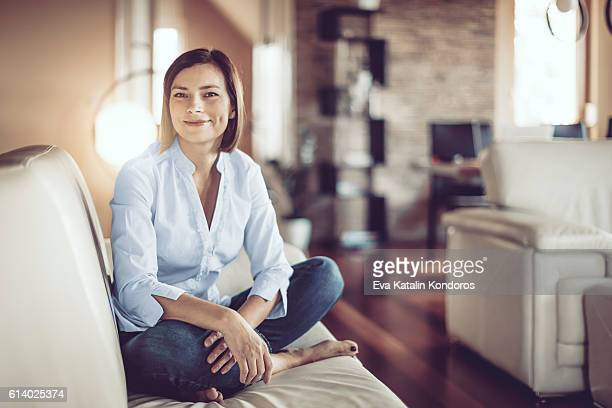 Beautiful young woman at home