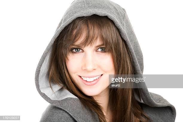Schöne Junge Frau mit frischen, hellen Lächeln Gesicht perfekte Zähne Isoliert