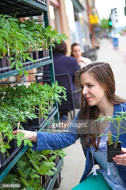 Beautiful Young Woman Choosing Plants for Garden