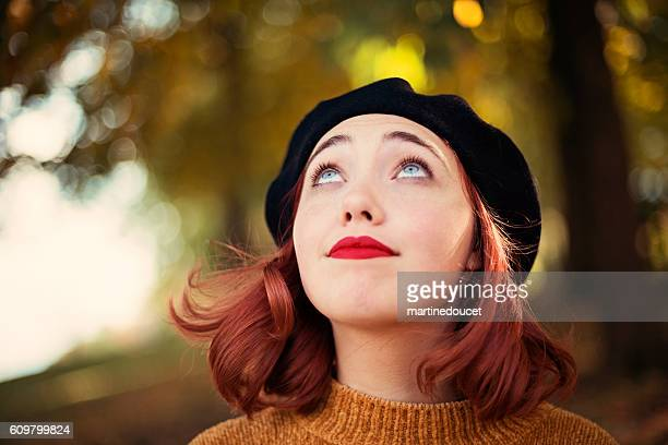 "beautiful young woman enjoying autumn season in nature. - ""martine doucet"" or martinedoucet stock pictures, royalty-free photos & images"