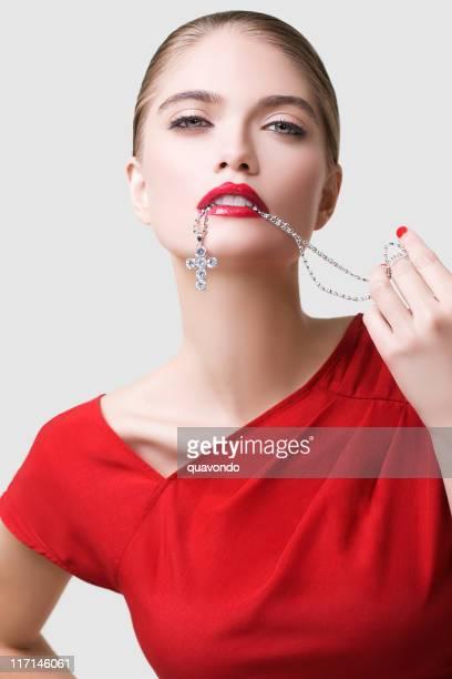 Beautiful Young Woman Fashion Model, Red Dress, Lipstick, Jewelry
