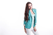 beautiful smiling woman mint jacket isolated