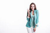 beautiful young woman mint jacket isolated
