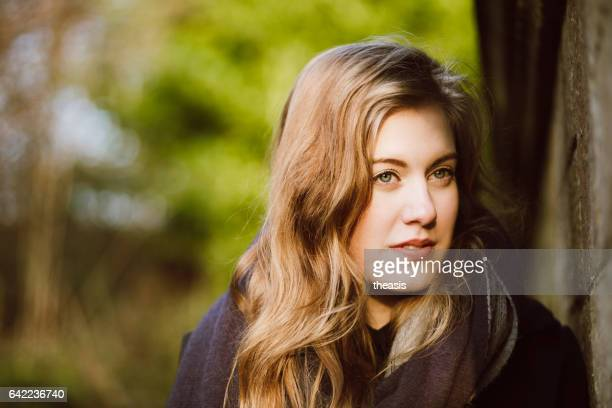 beautiful young woman in black and grey - pollock country park stock pictures, royalty-free photos & images
