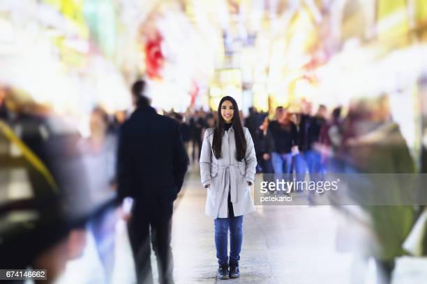 Beautiful young woman in Grand Bazaar, Istanbul, Turkey