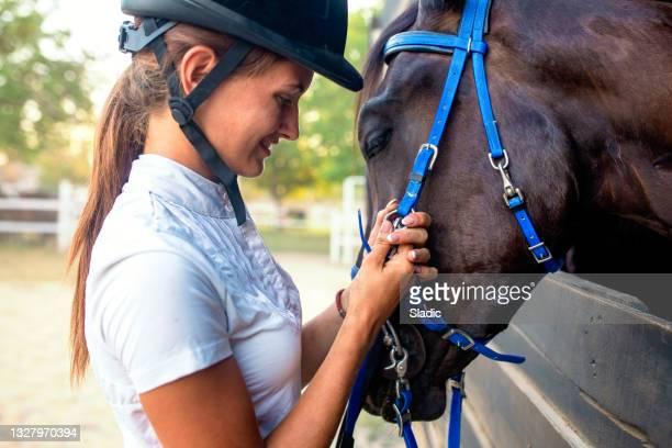 彼女の馬をなでるギアに乗って美しい若い女性 - 動物調教師 ストックフォトと画像