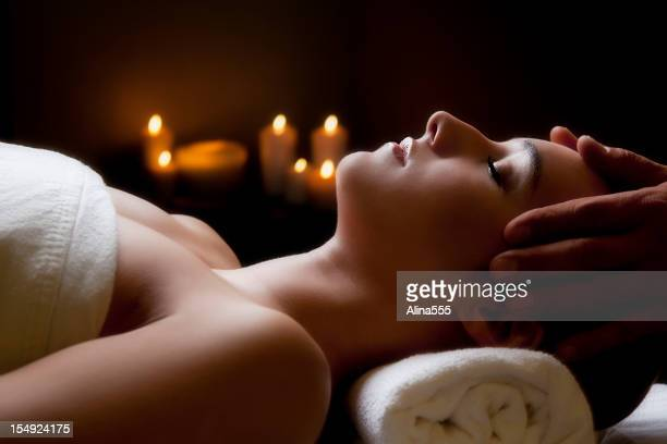 Beautiful young woman in the spa