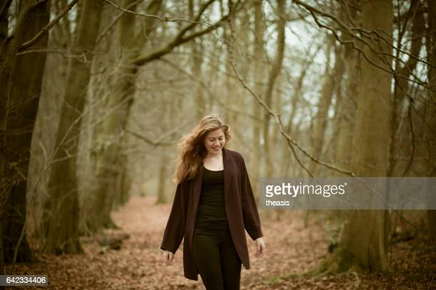 beautiful young woman in the woods - pollock country park stock pictures, royalty-free photos & images