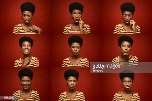 beautiful young woman making faces in a head shot multiple image. - facial expression stock pictures, royalty-free photos & images