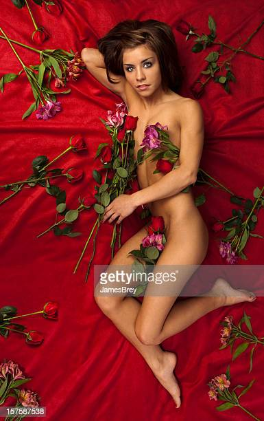 Beautiful Young Woman Nude on Red Velvet Bed With Roses