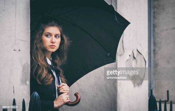 Beautiful Young Woman Outside London Home