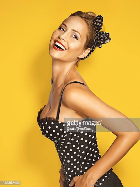 beautiful young woman  pin up style - pinup stockfoto's en -beelden