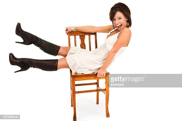 Beautiful Young Woman Posing on Chair