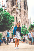 Beautiful young woman tourist in Barcelona, Famous landmarks