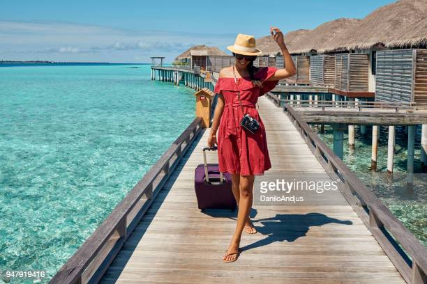 beautiful young woman traveler