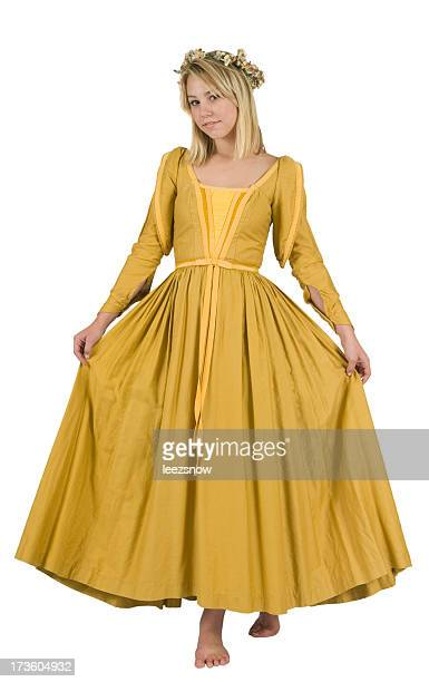 beautiful young woman wearing a renaissance period costume - period costume stock pictures, royalty-free photos & images