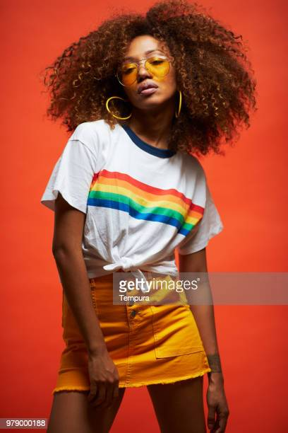 Beautiful young woman with afro, Reggaeton musician.