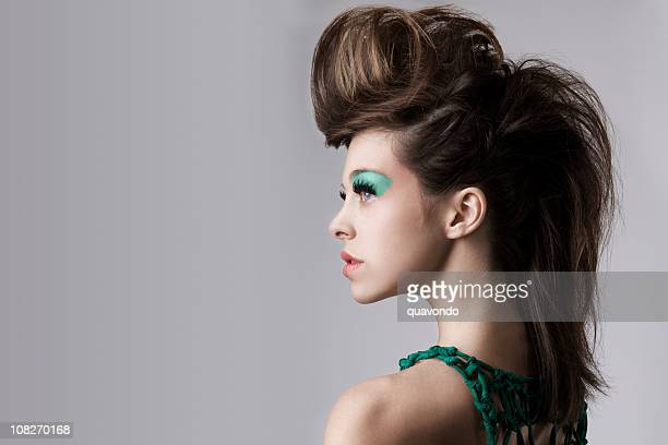 Beautiful Young Woman with Big Hair and Makeup, Copy Space