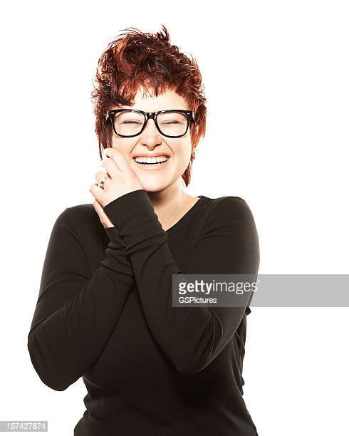 Beautiful young woman with eyeglasses laughing