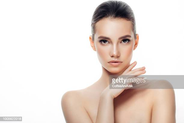 beautiful young woman with fresh skin - lap body area stock photos and pictures