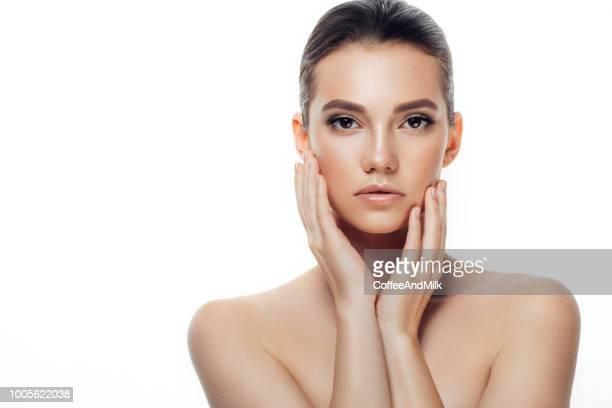 mulher jovem e bonita com pele fresca - descascado - fotografias e filmes do acervo