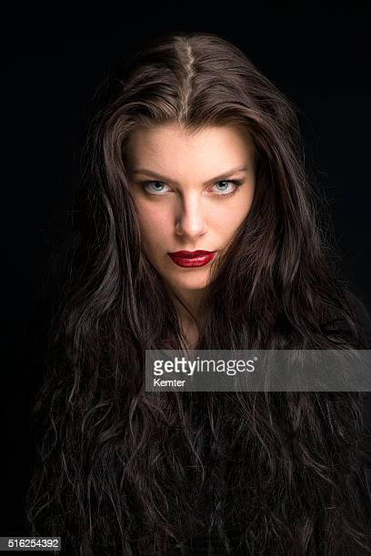beautiful young woman with long brown hair portrait - big eyes stock photos and pictures