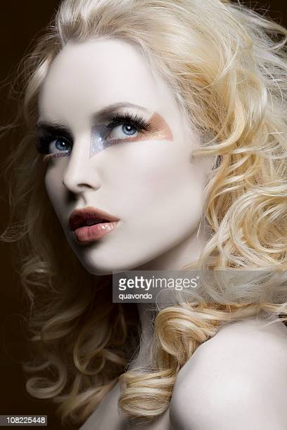 Beauty Head Shot of Pale Blond Model with Curly Hair