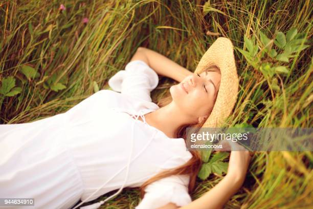 beautiful young women on the nature - taking a break stock photos and pictures