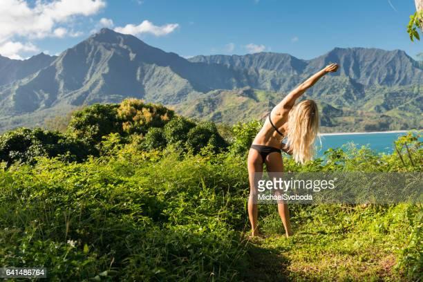 Beautiful Young Women Stretching