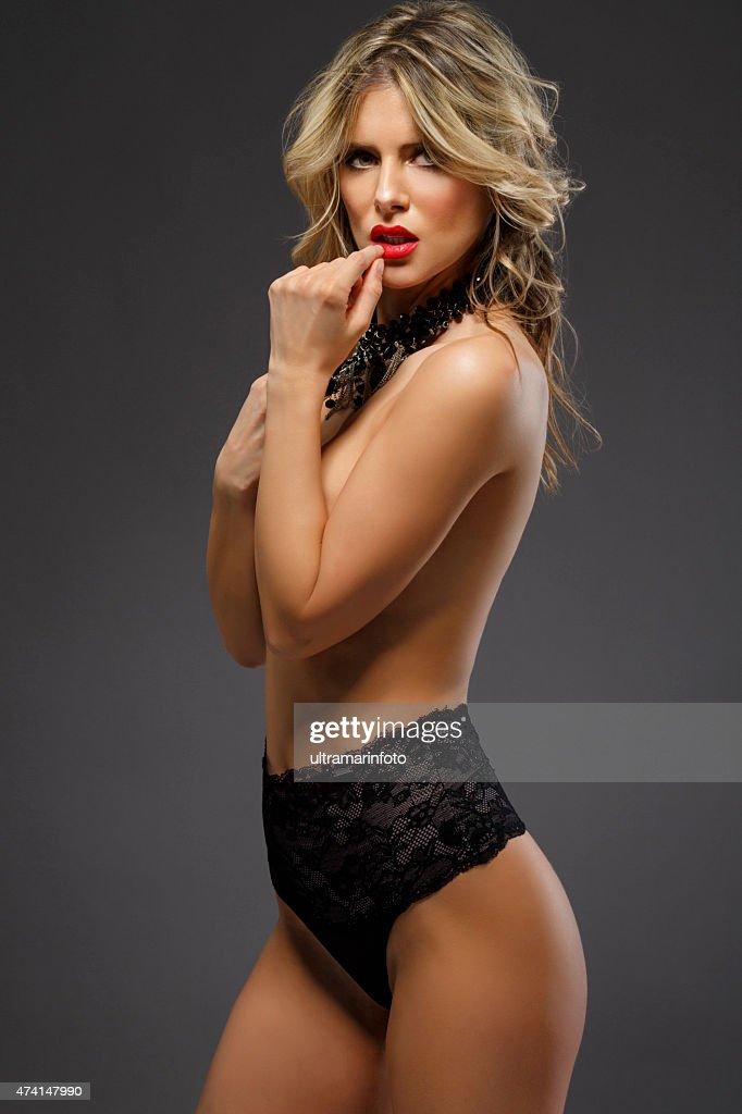 ec72b2f7302 Beautiful Young Women Wearing Black Sexy Lingerie Stock Photo ...