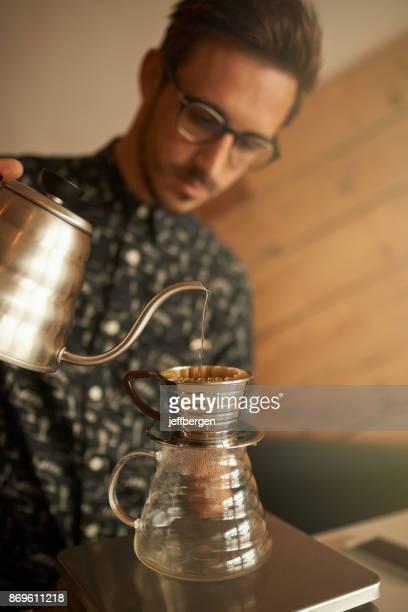 Wunderschön gebraut Kaffee kommen rechts oben