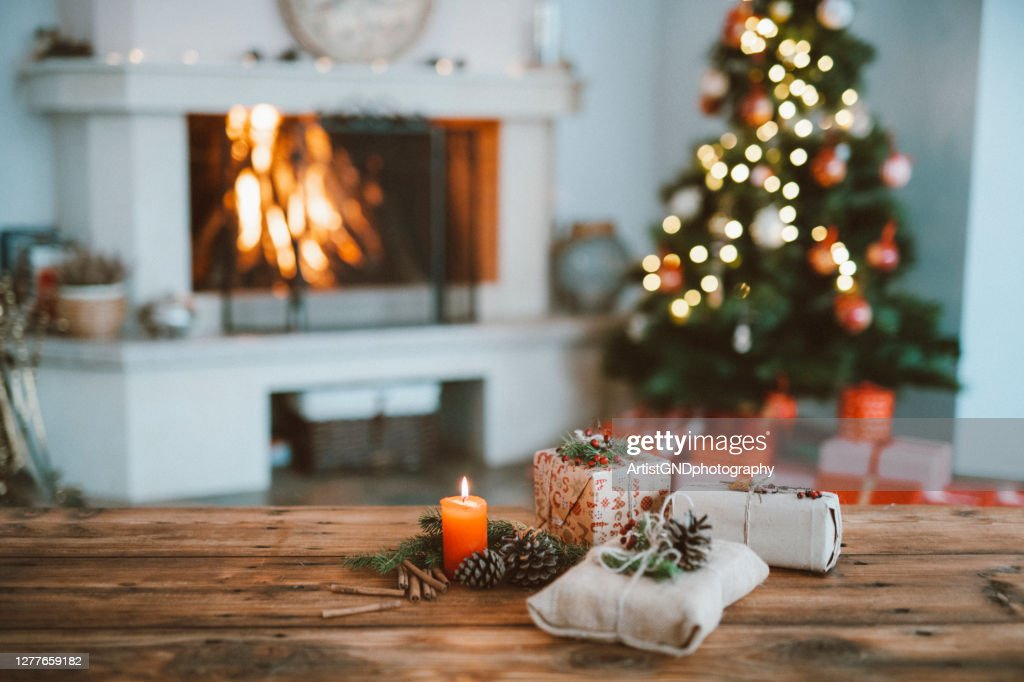Beautifully Christmas Decorated Home  Interior With A Christmas Tree And Christmas Presents : Stock Photo