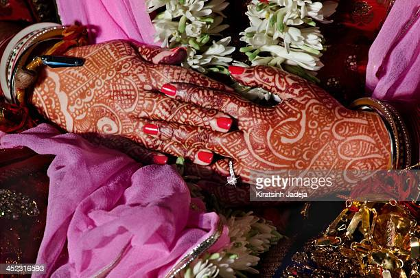 Beautifully Decorated Hands Of An Indian Bride
