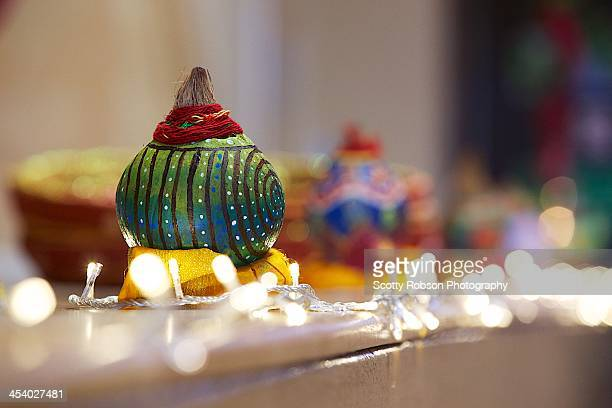 Beautifully decorated Hindu coconuts