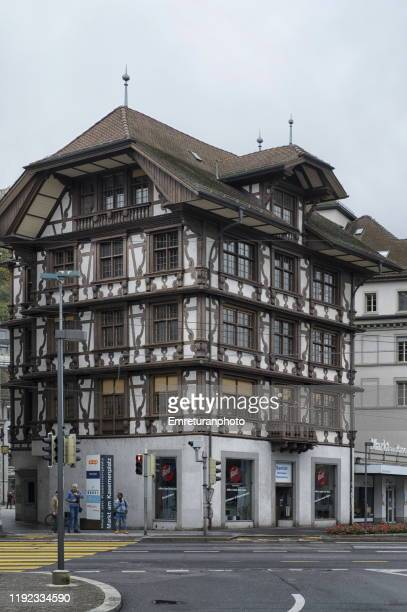 beautifully decorated traditional building in old town lucerne. - emreturanphoto stock pictures, royalty-free photos & images